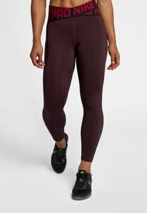 cheapest price on feet at new high Details about Nike Pro Intertwist Women's High Waistband Crops S Red  Burgundy Crossover Tights