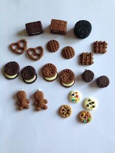 10-Cookie-Fimo-Charms-Jewellery-Making-Beads-Bundle-Oreo-Biscuit-Pretzel-Waffle