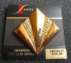 NEW-SAVVY-SWAROVSKI-CRYSTAL-GOLD-TONE-PIN-BROOCH-SWAN-MARK-SB-13