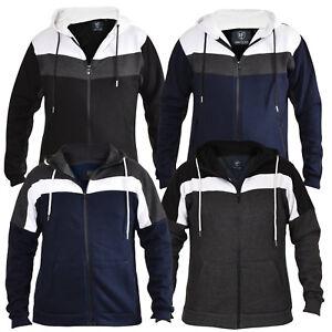 021dea725588 Mens Hoodie Zip Up Fleece Panel Hooded Sweater Jumper Jacket