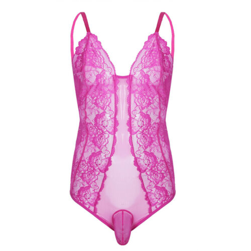 Men Crossdress See Through Lace Sissy Panty Bodysuit Underwear Jumpsuit Lingerie