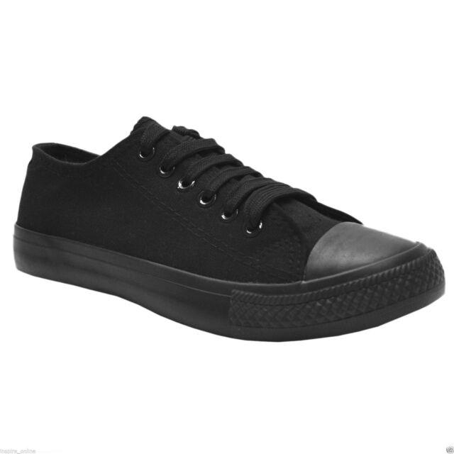 594156e1daf4 Black Canvas Low top Pumps Trainers Gym Baseball Shoes MEN S LADIES ADULT  SIZE