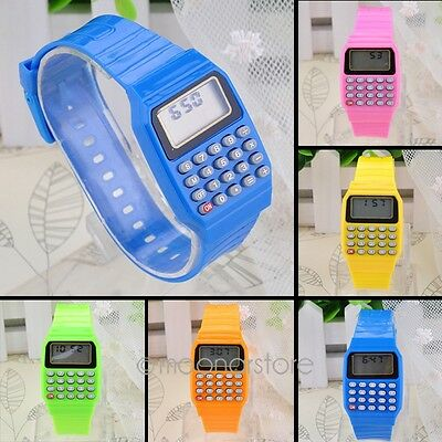 Mode Multi-Purpose Kids enfants date calculatrice Montre LCD Bracelet Silicone
