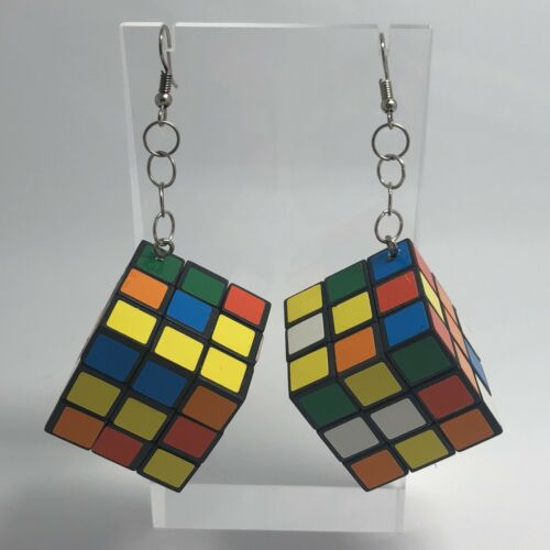Toy Cube Large Huge Giant Oversized Earrings 9 Cm Long Fun Toy Working I701