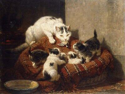 A mother cat and kitten Henriette Ronner-Knip giclee fine ART CANVAS print