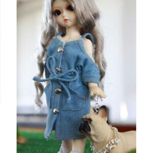 new concept 0700a ef3a1 Dettagli su Abito in denim da 1/3 con vestito di jeans per abiti da bambola  blu Bjd
