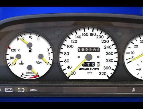 1984-1993 Mercedes W126 320 METRIC KPH KMH Instrument Cluster White Face Gauges