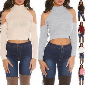 35d376adae8e5 Image is loading Women-039-s-Cold-Shoulder-Crop-Sweater-One-