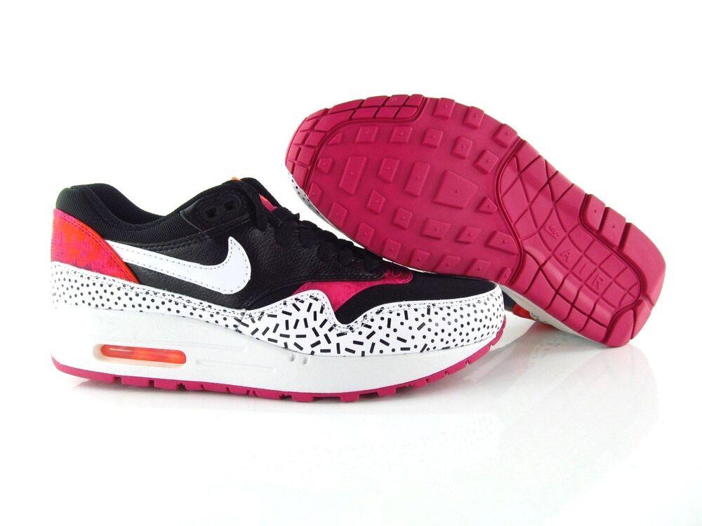 Nike Air Max 1 Print 90 noir blanc fireberry New uk_4 us_6.5 EUR 37.5-