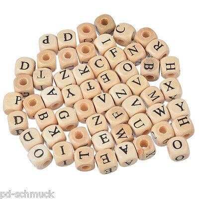 200 Naturell Buchstaben Holz Würfel Perlen Beads 10x10mm PD