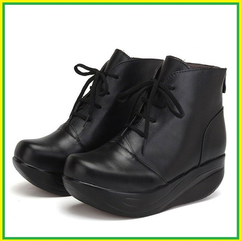 Black Women Boots Lace Up Genuine Leather Winter Shoes Warm Wedges Platform Swin