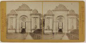 Lille-La-Porta-De-Paris-Francia-Foto-Jules-Valecke-Stereo-Vintage-Albumina-c1868