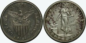 1913-S-US-Philippines-20-Centavos-VF-XF-Details-A-11-09-75-Silver-MX491