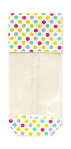 50 x spotty easter candy bags block bottom clear cello sweet treat image is loading 50 x spotty easter candy bags block bottom negle Images
