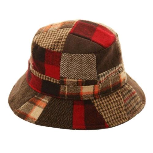 HA489 Adults Unisex Patchwork Wool Blend Bucket Hat