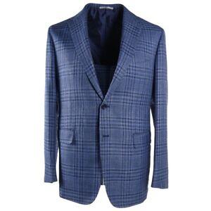 NWT-4395-MAURO-BLASI-Handmade-Blue-Check-Wool-Silk-Linen-Sport-Coat-Slim-42-R