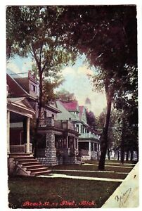 1908-FLINT-MICHIGAN-Postcard-Beach-Street-Homes-Mich