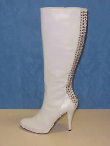 Avec Vrais Bottes Talons Pour Chaussures Cuir En Femmes Blanc De 38 Swarovski ApYq6w