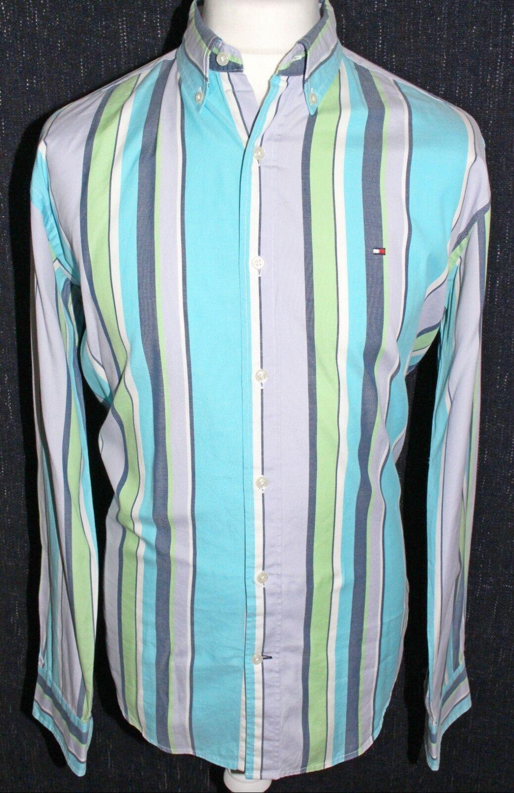 TOMMY HILFIGER Mens 80's 80's 80's Two Ply Cotton Mutli Colourot Striped Shirt Größe Large | Ausgezeichneter Wert  | Qualität und Quantität garantiert  1749e7