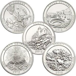 2012-S-25c-America-the-Beautiful-Quarter-5-Coin-Set-Uncirculated-Mint-State