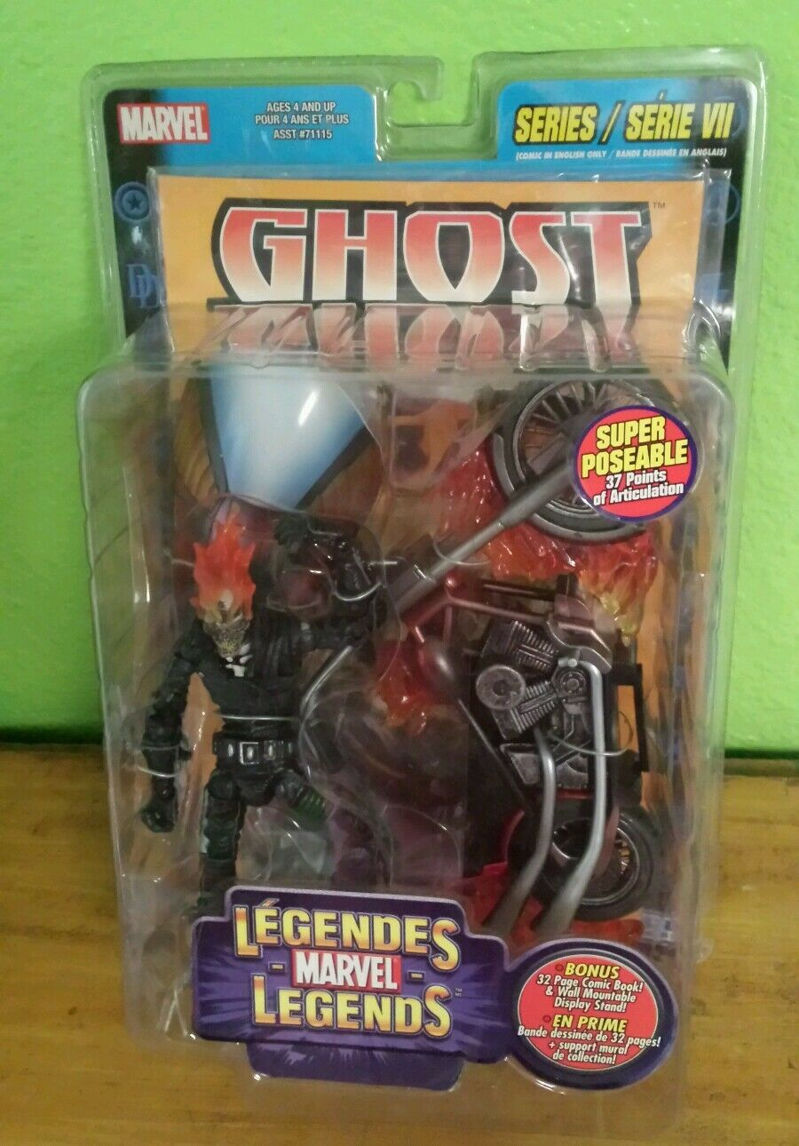 RARE ENGLISH FRENCH NIP 2004 MARVEL LEGENDS SERIES VII GHOST RIDER ACTION FIGURE