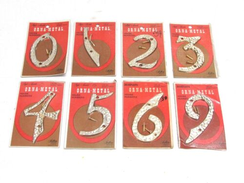 NOS VINTAGE ORNA-METAL HOUSE NUMBERS GOLD TONE HAMMERED ALUMINUM