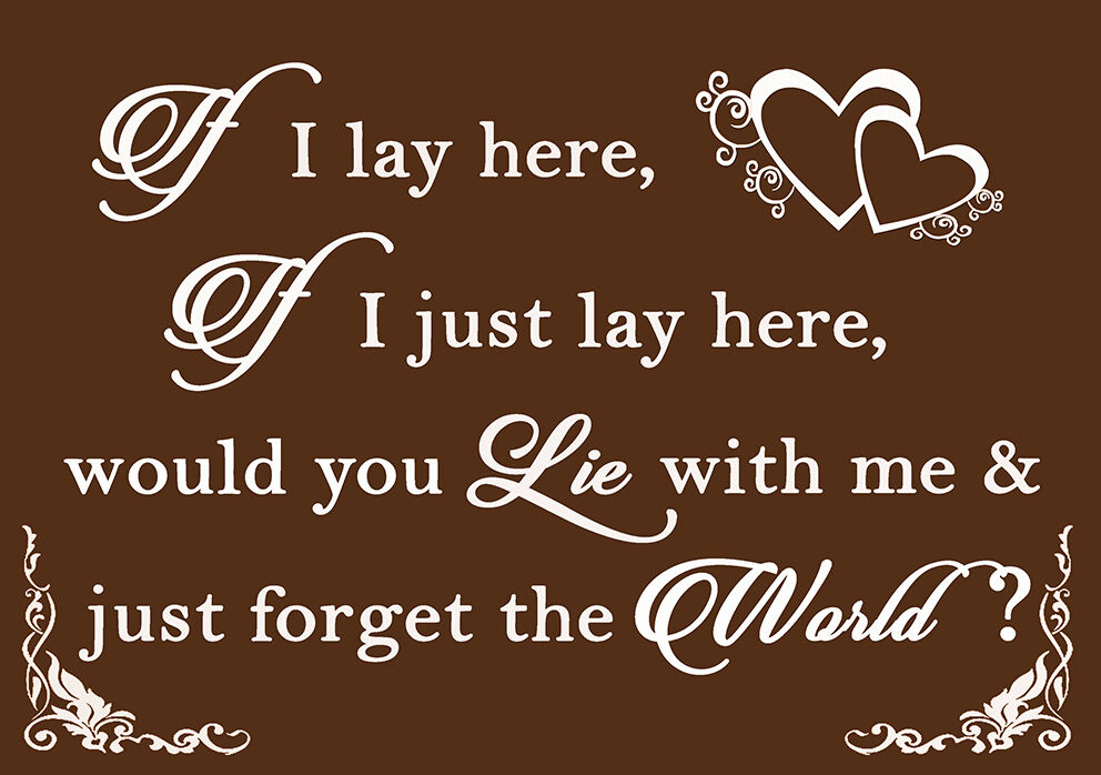 If I Lay Lay Lay Here - Snow Patrol QUOTE Canvas Wall Art Picture Print  Chocolate braun 2d89e0