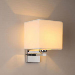 Modern Led Wall Light Fabric Shade Indoor Sconce Lighting Lamp Lantern Fixture Ebay