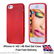 SOFT SILICONE RED GEL FLEXIBLE RUBBER SKIN COVER POUCH CASE FOR IPHONE 4 4G 4S