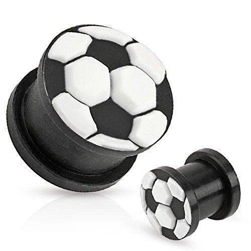 Soccer Ball Top Black Ultra Flexible Silicone Double Flared Plug 00G Sold as ...