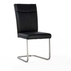 lederstuhl freischwinger rindsleder schwarz edelstahl. Black Bedroom Furniture Sets. Home Design Ideas