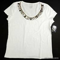 St. John's Bay Womens Sz L White Beaded Neckline Knit Top T-shirt Tee