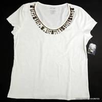 St. John's Bay Womens Sz L White Beaded Neckline Knit Top T-shirt Tee