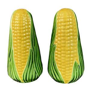 """Corn on Cob Salt Pepper Set Vintage Glazed Pottery Shakers Detailed Husk 4.5""""H"""