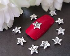 3D Nail Art Sparkly Glitter Silver Rhinestone Xmas Stars Curved Metallic Alloy