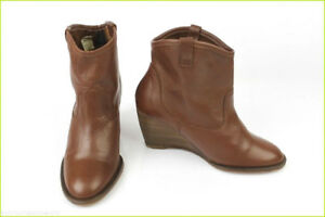 6679114fa1e Image is loading Boots-Booties-TEXTO-Wedge-heels-Brown-Leather-T-