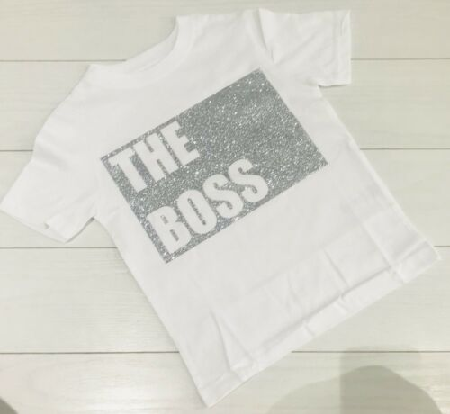 Boutique Kids Girls T-Shirt Top /'The Boss/' Silver Glitter Outfit 2-11 Years