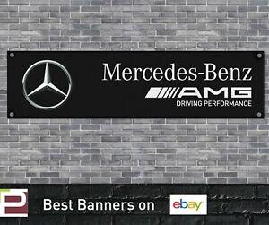 Mercedes AMG Workshop Garage Banner Motorsport c63, e63, c43, Black Banner