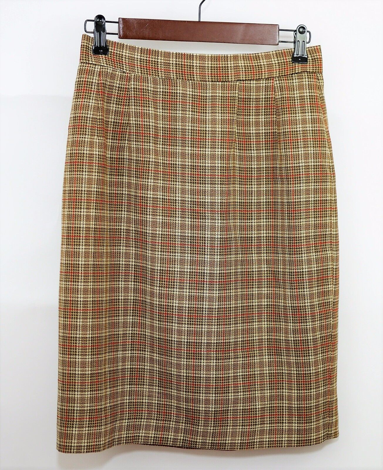 TAHARI Women's 8 - 100% WOOL BROWN & RED PLAID STRAIGHT SKIRT  Knee Length Lined
