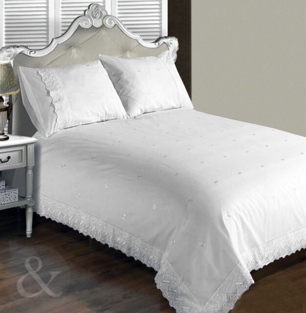 Vintage Lace Luxury Duvet Cover - White Bedding Cotton Blend Embroidered Bed Set