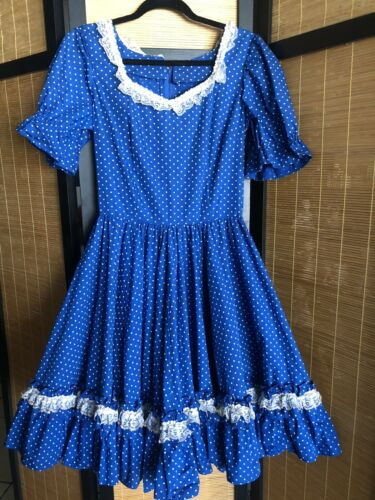 Vintage Blue Cotton Polka Dot Country Square Dance