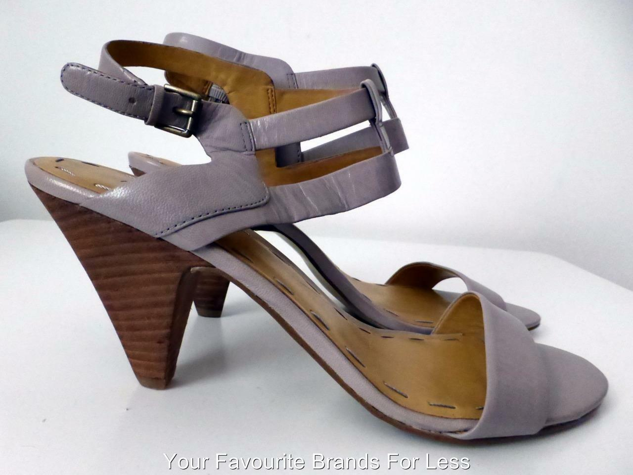 NINE WEST  Size 9.5 M Grey High Open Heel Open High Toe Leather Sandals 268175