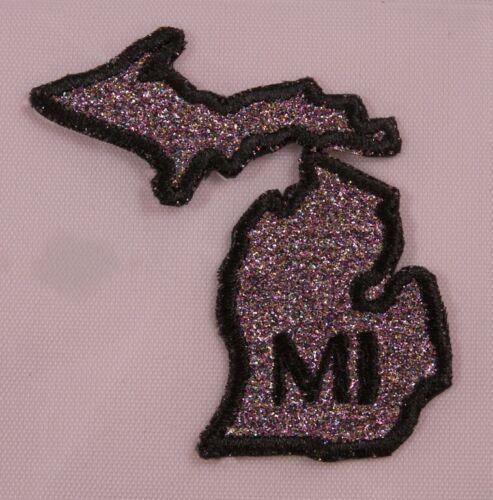 Embroidered Rainbow Glitter Michigan MI State Jacket Postal Patch Iron On USA