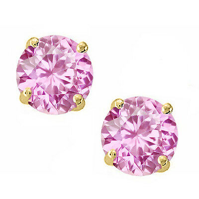 14K Solid Yellow Gold October Pink Sapphire Round Stud w/ Screw Back Earrings