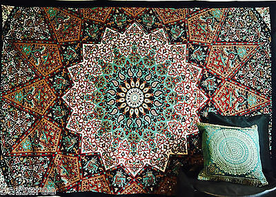 Indian Psychedelic Tapestry Wall Hanging Elephant Star Mandala Throw Hippie Boho