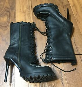 2a776feef6e Tory Burch Black Pebbled Zip Lace Up Leather Stiletto Trigg Hiking ...