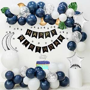 Aperil-Anniversaire-Decorations-Pour-Hommes-Bleu-marine-des-ballons-blancs-argent-Confettis