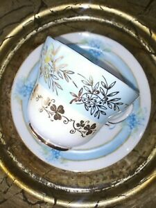 VTG-Fine-Porcelain-Tea-Cup-and-Saucer-GREAT-Mix-amp-Match-Paired-Duo-in-Blue-EXC