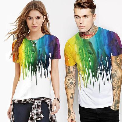 Rainbow Crayon Painted 3d Print Women Men Streetwear Fashion T-shirt Tee  White