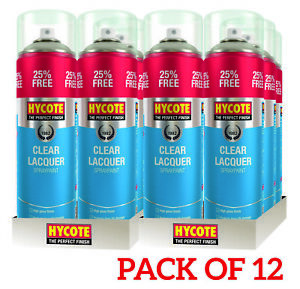 12x-Hycote-XUK0232-500-Clear-Lacquer-Spray-Paint-500ml-Fast-Drying-High-Gloss